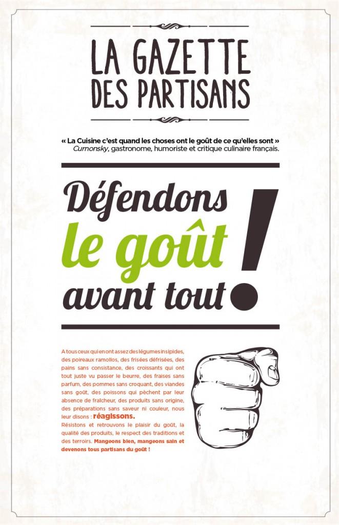Couverture de la première Gazette des Partisans, conception, création, rédaction Sakkamoto