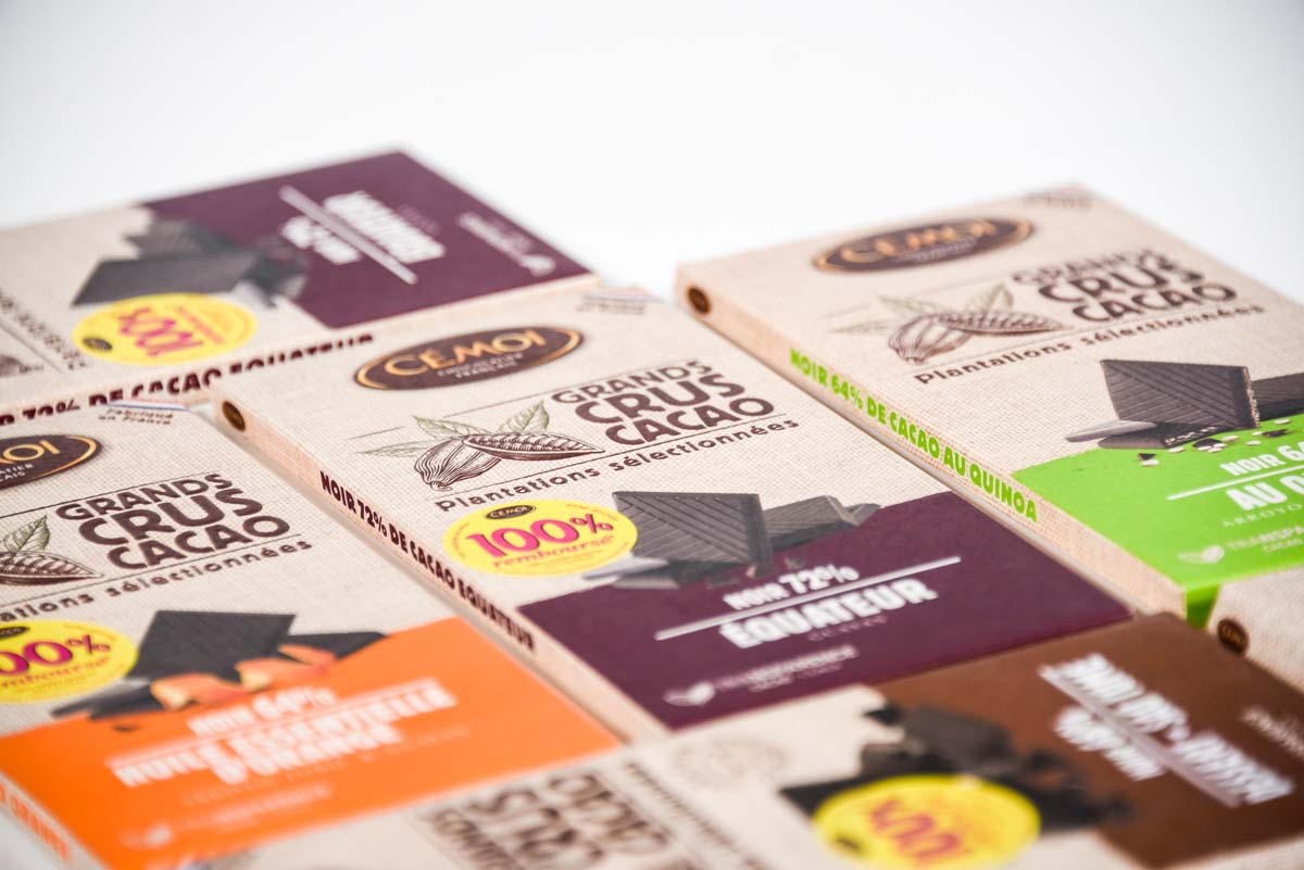 """Déclinaison de la gamme de chocolats """"Grands Crus Cacao"""" Cemoi"""