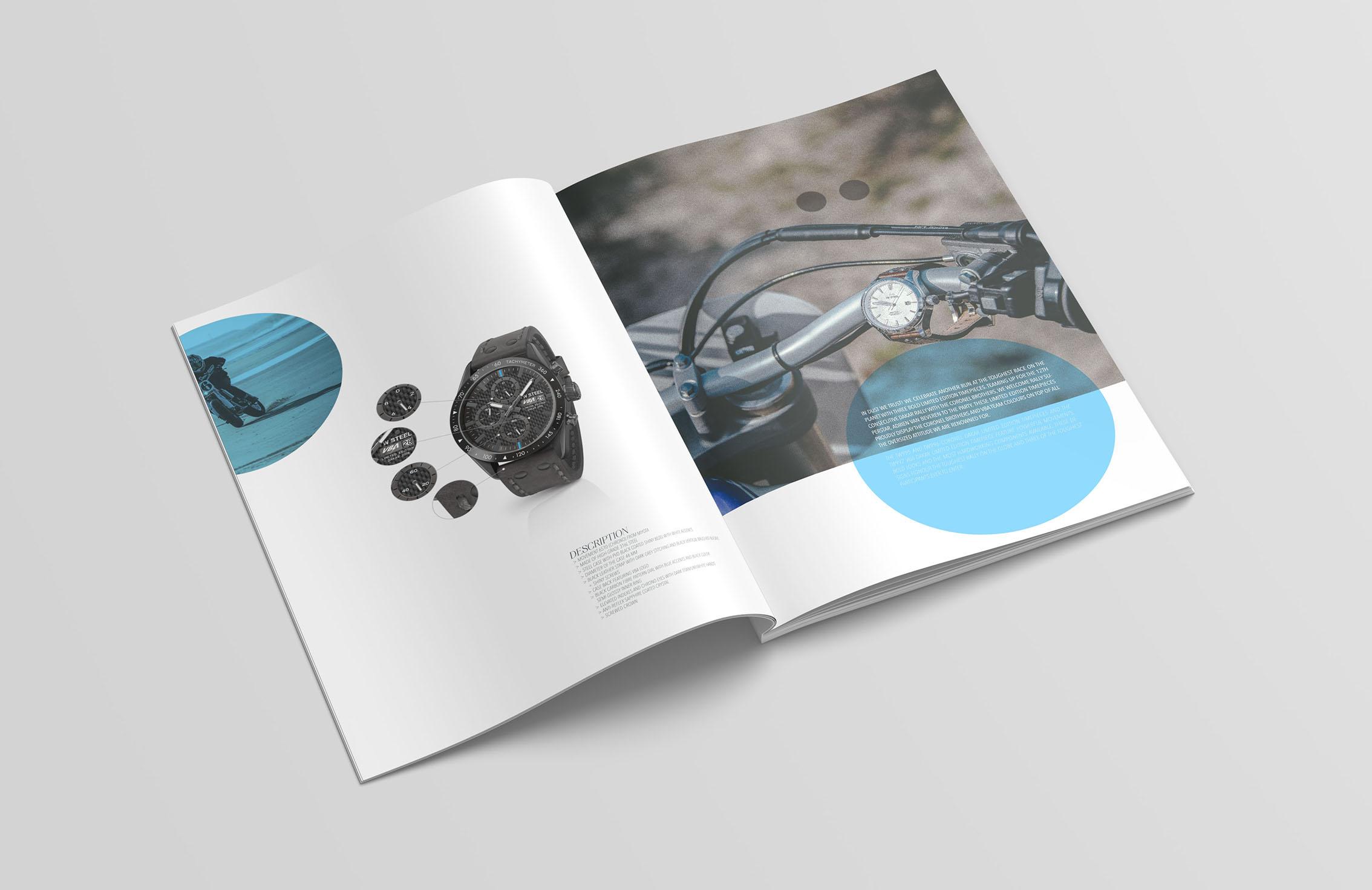 Brochure TW Steel avec Adrien Van Beveren. Conception, création Sakkamoto. Photographe Laurent Scavone. Agence de communication et création de catalogue Lilloise : Sakkamoto
